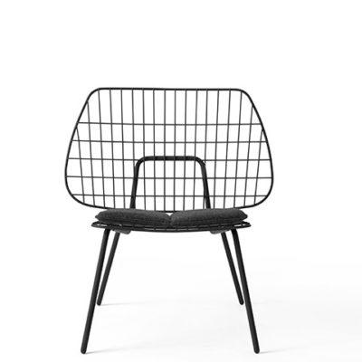Menu - String Lounge Chair Black w Grey Seat Cushion 1