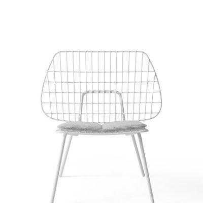 Menu - String Lounge Chair White w Light Grey Seat Cushion 1