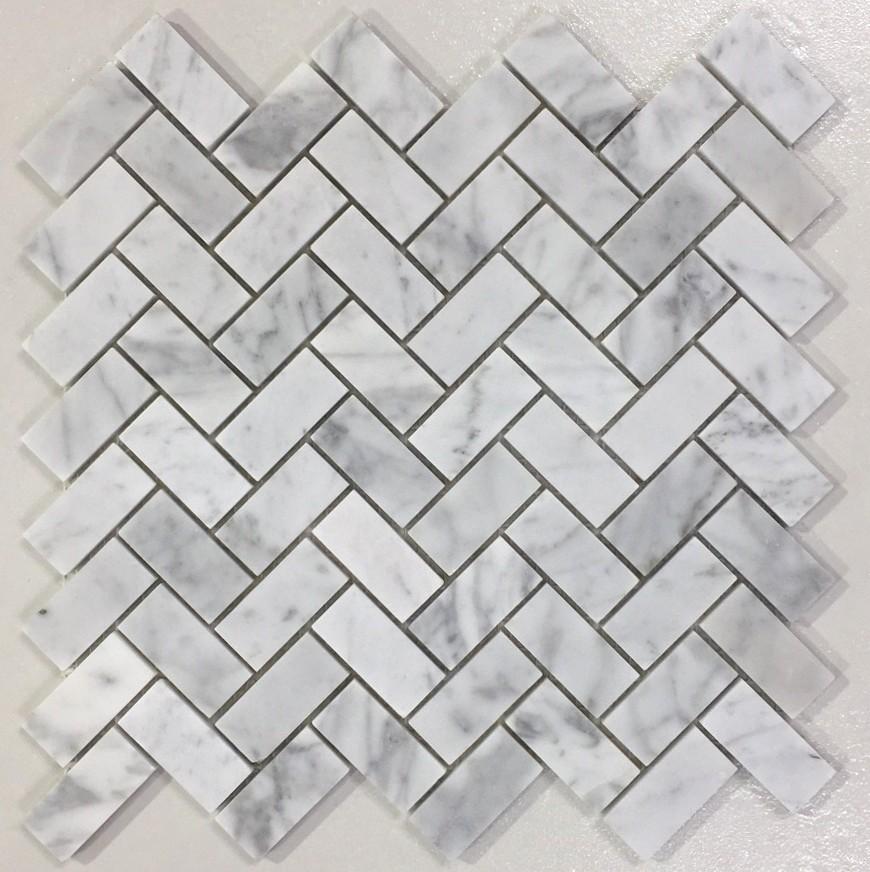 Herringbone Carrara Marble 28 7 X 1