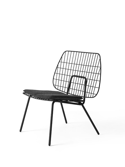 Menu   String Lounge Chair Black W Grey Seat Cushion 3 ...