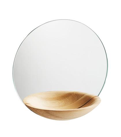 pocket mirror large oak