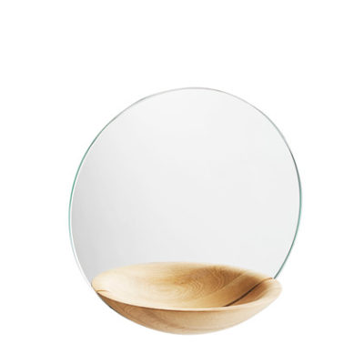 pocket mirror small oak